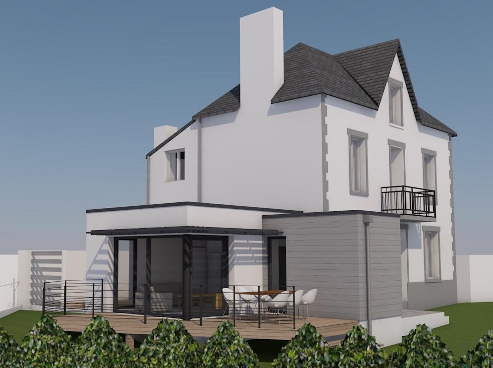 3D extension rénovation La Forêt Fouesnant